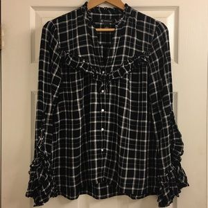INC casual plaid blouse